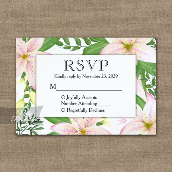 Pink Lilies RSVP Card Wedding Response PRINTED