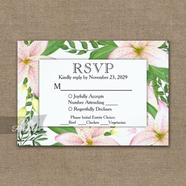 Pink Lilies RSVP Card w/ Meal Choices PRINTED