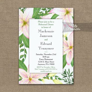 Rehearsal Dinner Invitation Pink Lilies PRINTED