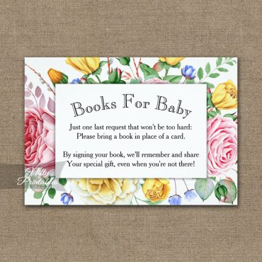 Bring A Book Insert Pink Yellow Roses Baby Shower PRINTED