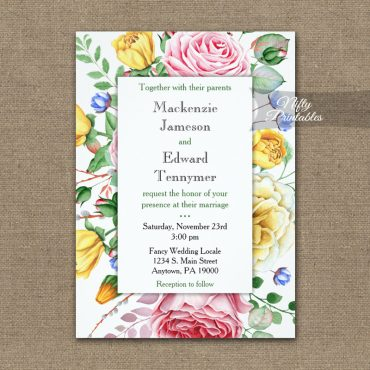 Wedding Invitation Pink Yellow Roses PRINTED