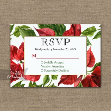 Poinsettia RSVP Card Wedding Response PRINTED
