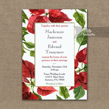 Wedding Invitation Poinsettia PRINTED