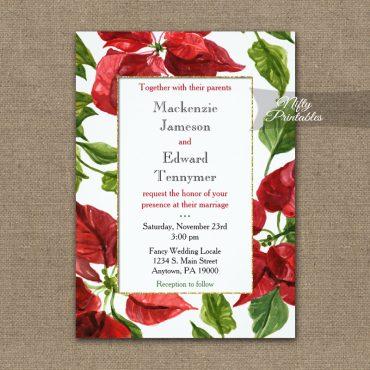 Wedding Invitations Poinsettia PRINTED
