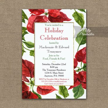 Holiday Christmas Party Invitation Poinsettia PRINTED