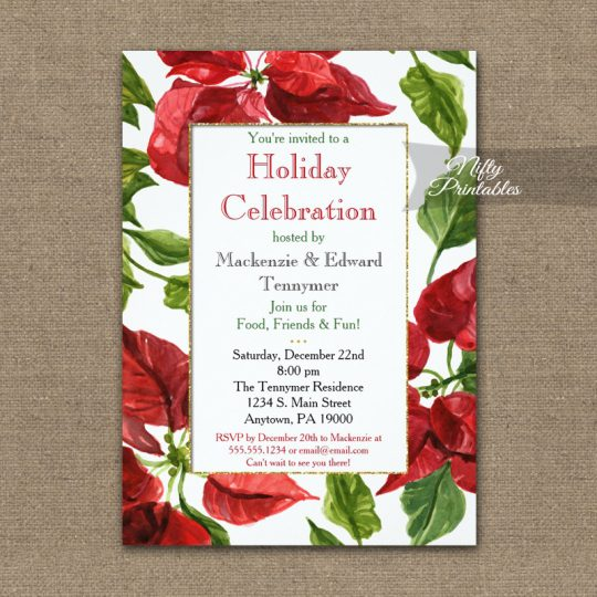 Holiday Christmas Party Invitations Poinsettia PRINTED