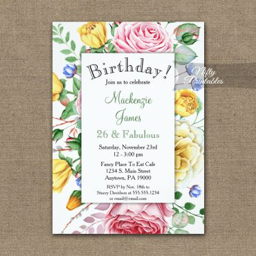 Birthday Invitation Pink Yellow Roses PRINTED