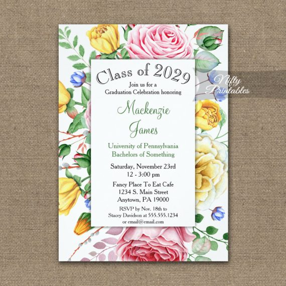 Graduation Invitation Pink Yellow Roses PRINTED