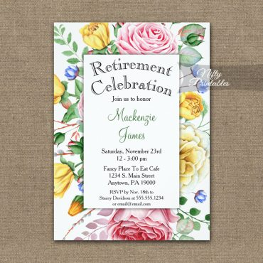 Retirement Invitation Pink Yellow Roses PRINTED