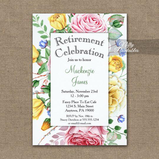 Retirement Invitations Pink Yellow Roses PRINTED
