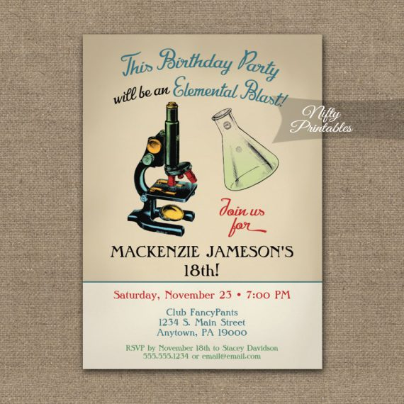 Birthday Invitation Vintage Science PRINTED