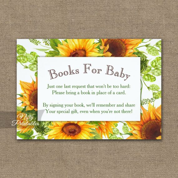 Bring A Book Insert Sunflowers Floral Baby Shower PRINTED