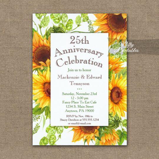 Anniversary Invitations Sunflowers Floral PRINTED