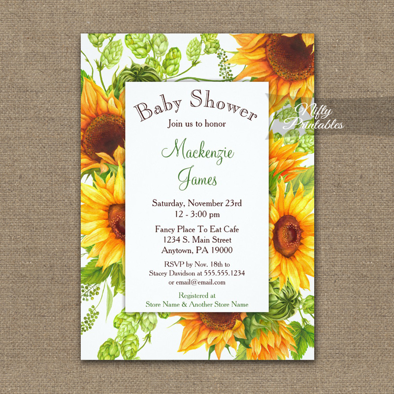 Baby Shower Invitation Sunflowers Floral PRINTED - Nifty Printables