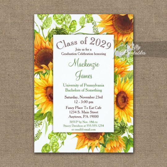 Graduation Invitations Sunflowers Floral PRINTED
