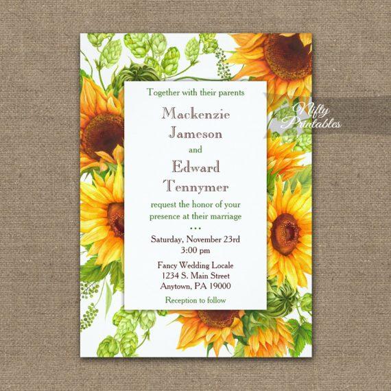 Wedding Invitation Sunflowers Floral PRINTED