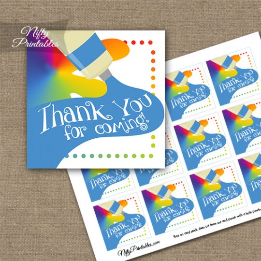 Art Party Fun Birthday Thank You Favor Tags