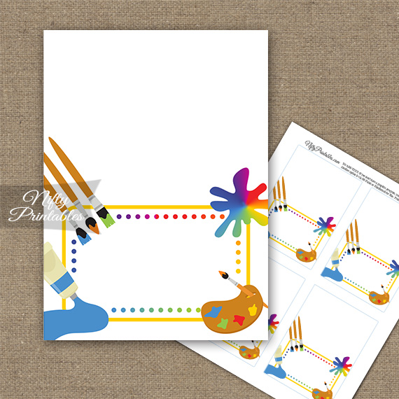 Art Party Fun Birthday Folded Tent Place Cards