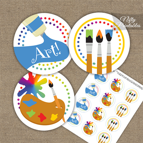 Art Party Fun Birthday Cupcake Toppers