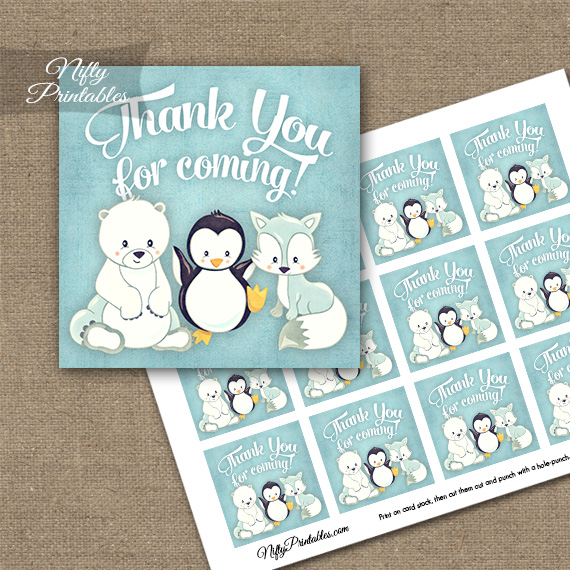 Cute Winter Animals Thank You Favor Tags