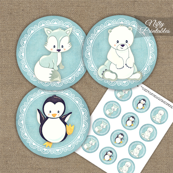 Cute Winter Animals Cupcake Toppers