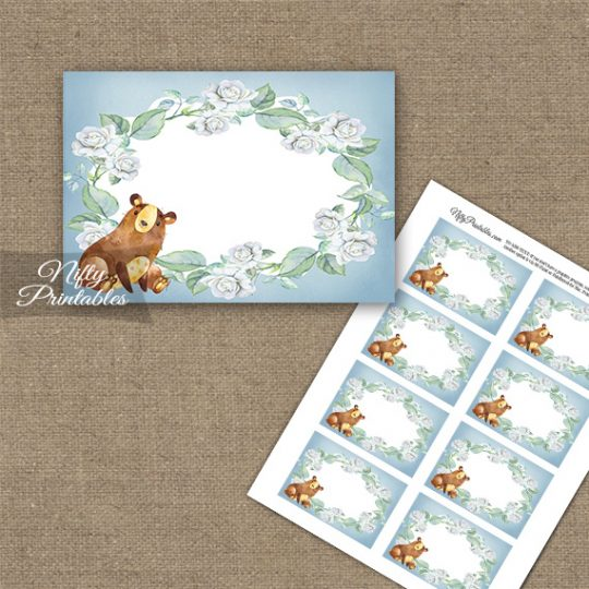 Cute Bear Floral Blank Labels
