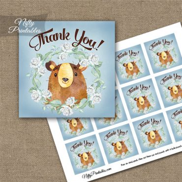 Cute Bear Floral Thank You Favor Tags