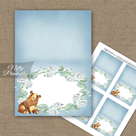 Cute Bear Floral Folded Tent Place Cards