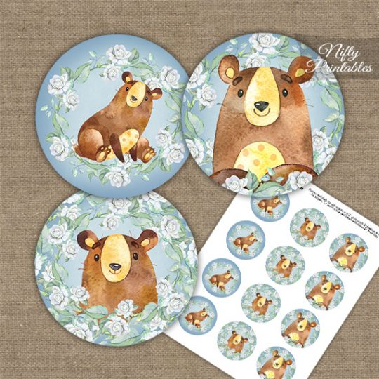 Cute Bear Floral Cupcake Toppers