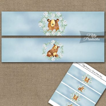 Cute Bear Floral Water Bottle Labels