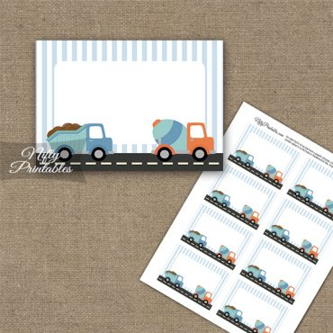 Cute Construction Trucks Birthday Blank Labels