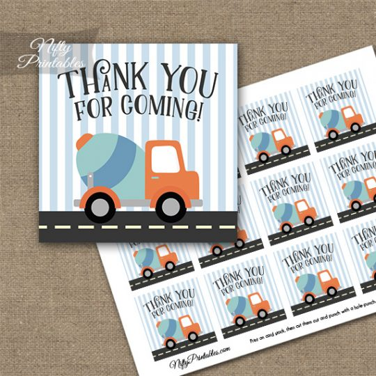 Cute Construction Trucks Birthday Thank You Favor Tags