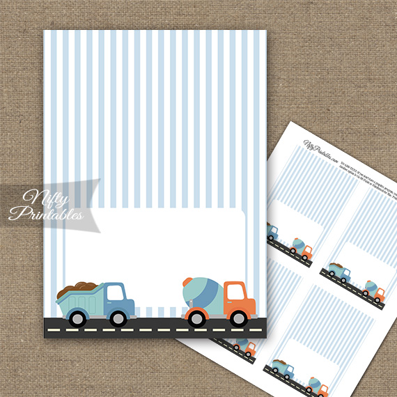 Cute Construction Trucks Birthday Folded Tent Place Cards