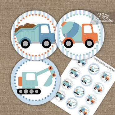 Cute Construction Trucks Birthday Cupcake Toppers