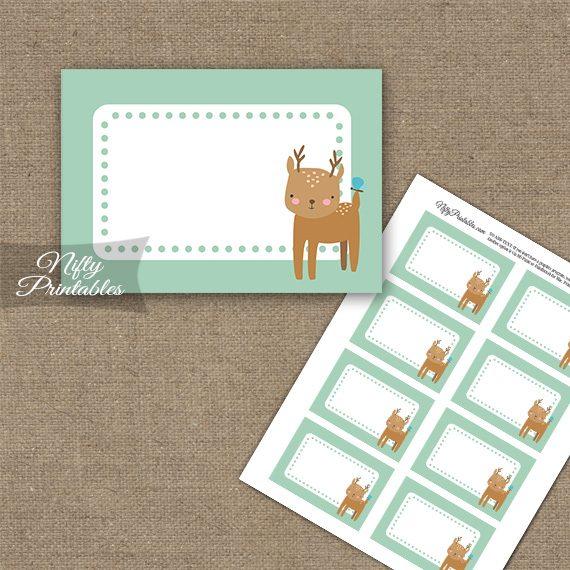 Cute Woodland Deer Birthday Blank Labels