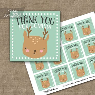 Cute Woodland Deer Birthday Thank You Favor Tags