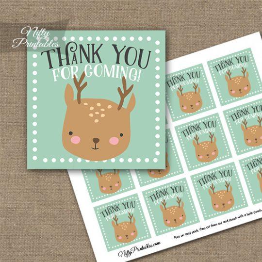 Cute Woodland Deer Birthday Thank You Favor Tags