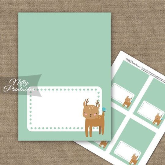 Cute Woodland Deer Birthday Folded Tent Place Cards