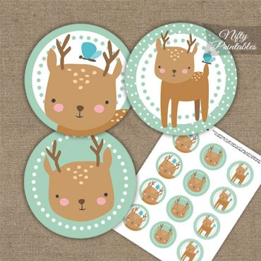 Cute Woodland Deer Birthday Cupcake Toppers