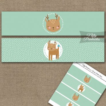 Cute Woodland Deer Birthday Water Bottle Labels
