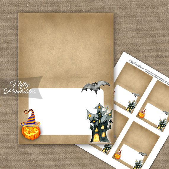 Haunted Halloween Folded Tent Place Cards