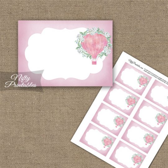 Hot Air Balloon Pink Blank Labels
