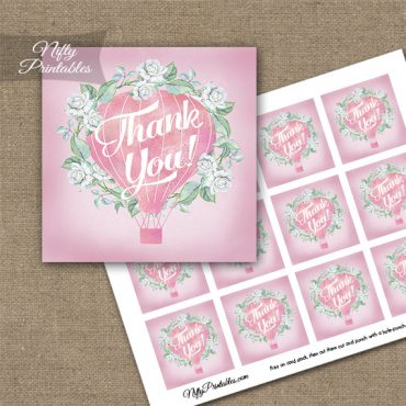 Hot Air Balloon Pink Thank You Favor Tags
