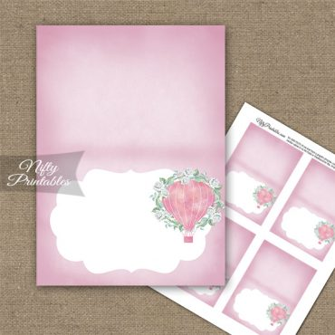 Hot Air Balloon Pink Folded Tent Place Cards
