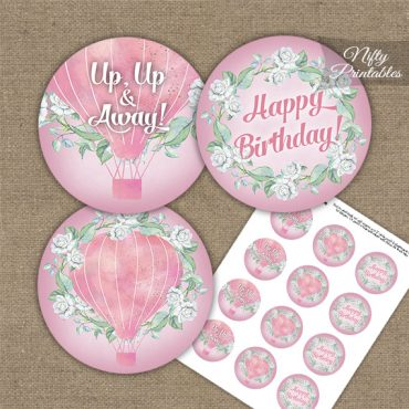 Hot Air Balloon Pink Birthday Cupcake Toppers
