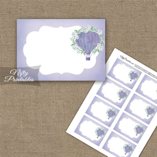 Hot Air Balloon Purple Blank Labels