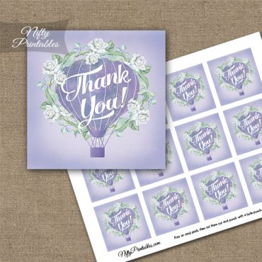 Hot Air Balloon Purple Thank You Favor Tags