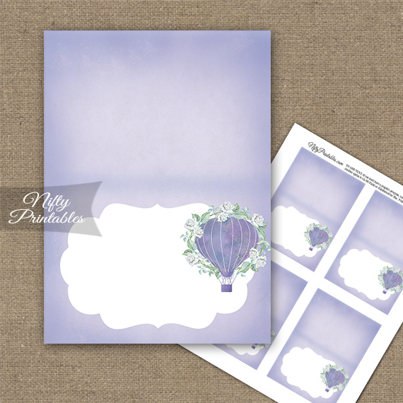 Hot Air Balloon Purple Folded Tent Place Cards