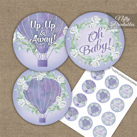 Hot Air Balloon Purple Baby Shower Cupcake Toppers