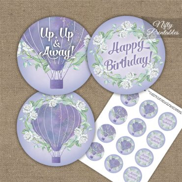 Hot Air Balloon Purple Birthday Cupcake Toppers